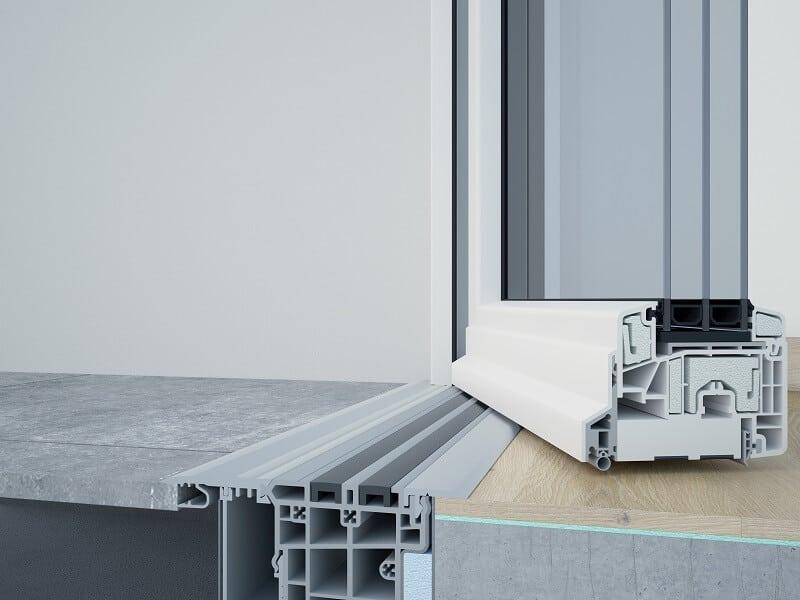 Schnittzeichnung Typ MFAT 20 PH: Die Magnet-Nullschwelle ist die weltweit erste Nullschwelle für Dreh- und Drehkipptüren, die ein Passivhauszertifikat vorweisen kann. (Zeichnung: ALUMAT Frey GmbH)