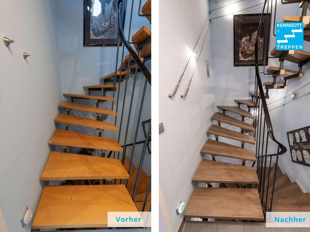 Vorher-Nachher: Handelt es sich um eine Treppe mit Stahlkonstruktion, genügt oft schon ein Stufentausch, um für optische Auffrischung zu sorgen.