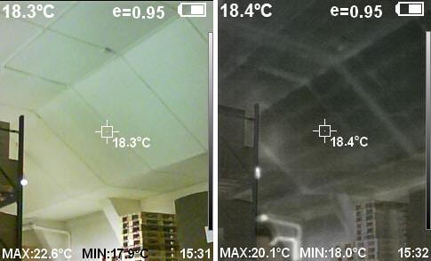 Schwarz-Weiß-Wärmebild für die Unterkonstruktion eines Hallendaches